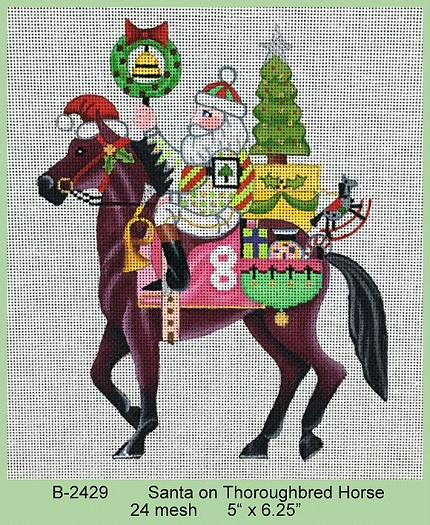 Santa On Thoroughbred Horse - click here for more details