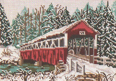 click here to view larger image of Barronvale Covered Bridge - 13ct (hand painted canvases)
