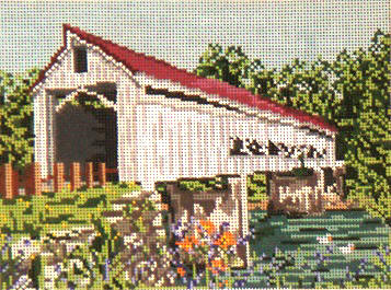 click here to view larger image of Mechanicsville Covered Bridge - 13ct (hand painted canvases)