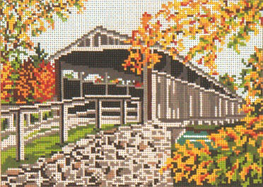 click here to view larger image of Perrine Covered Bridge - 13ct (hand painted canvases)