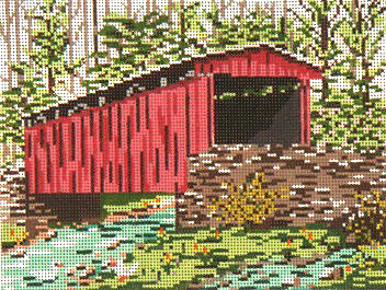 click here to view larger image of Thomas Mill Covered Bridge - 13ct (hand painted canvases)