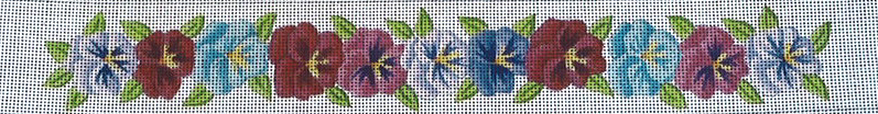 click here to view larger image of Pansies Belt (hand painted canvases)