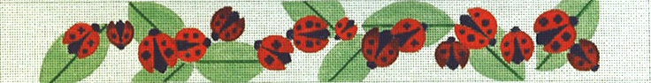 click here to view larger image of Ladybugs and Leaves Belt (hand painted canvases)