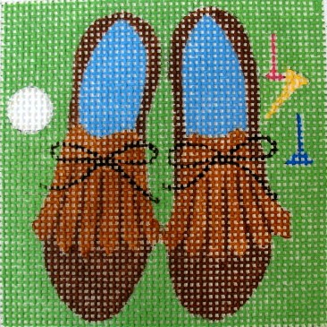 click here to view larger image of Golf Shoes Coaster (hand painted canvases)