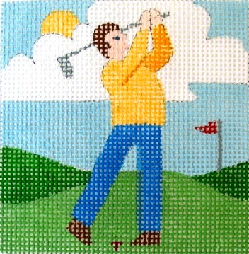 click here to view larger image of Golfing Dad Coaster (hand painted canvases)