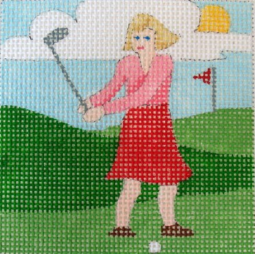 click here to view larger image of Golfing Mom Coaster (hand painted canvases)