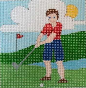 click here to view larger image of Golfing Son Coaster (hand painted canvases)