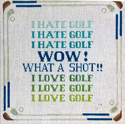 click here to view larger image of Hate Golf Love Golf (hand painted canvases)
