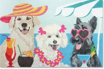 click here to view larger image of Lady Dogs Pillow (hand painted canvases)
