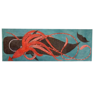 click here to view larger image of Squid And Whale (hand painted canvases)