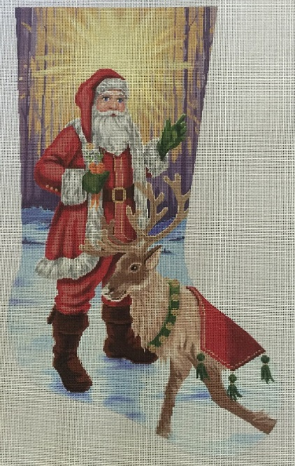 Santa With Reindeer Stocking - click here for more details