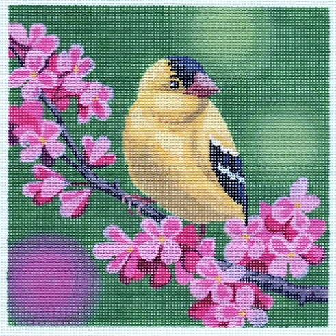 click here to view larger image of Goldfinch On Cherry Blossoms (hand painted canvases)