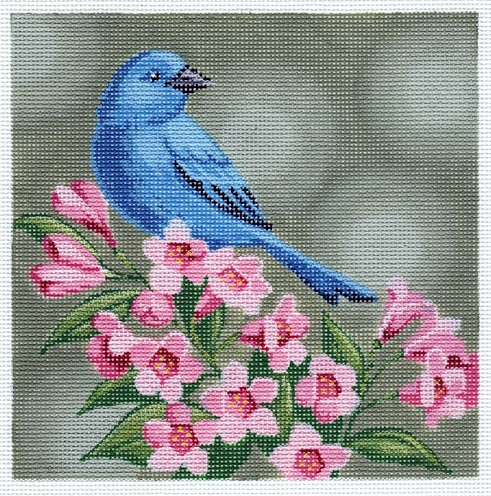 click here to view larger image of Indigo Bunting On Pink Flowers (hand painted canvases)
