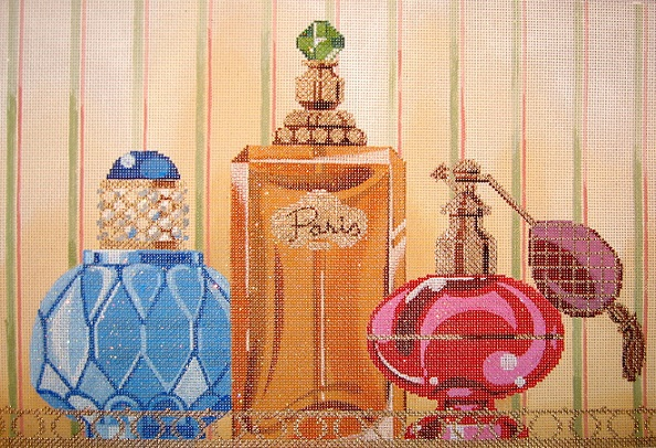click here to view larger image of Perfume Bottles On Tray (hand painted canvases)