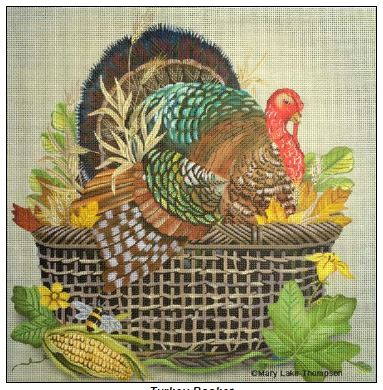 click here to view larger image of Turkey Basket (hand painted canvases)