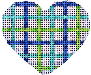 click here to view larger image of Lime/Aqua/Navy Lattice Mini Heart (hand painted canvases)