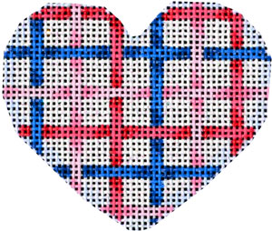 click here to view larger image of Pink/Dark Pink/Navy Lattice Mini Heart (hand painted canvases)
