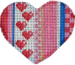 click here to view larger image of Be Mine Stripe Mini Heart II (hand painted canvases)