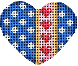 click here to view larger image of Polka Dot/Hearts Mini Heart (hand painted canvases)