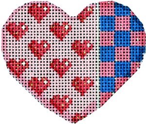 click here to view larger image of Hearts/Squares Mini Heart (hand painted canvases)