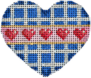 click here to view larger image of White/Navy Lattice Hearts Mini Heart (hand painted canvases)