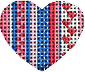 click here to view larger image of Be Mine Stripe Heart I (hand painted canvases)