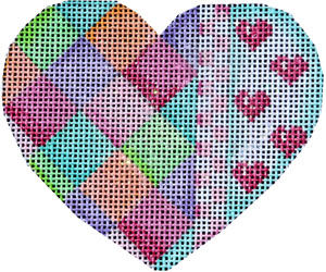 click here to view larger image of Harlequine/Checks/Hearts Heart (hand painted canvases)