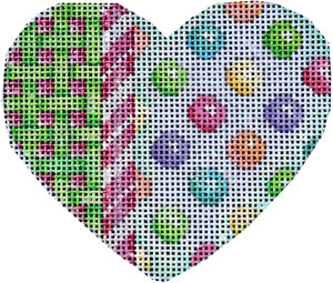 click here to view larger image of Lattice/Cane/Coin Dots Heart (hand painted canvases)