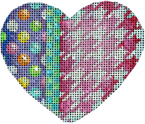 click here to view larger image of Coin/Dots/Checks/Houndstooth Heart (hand painted canvases)
