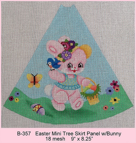 click here to view larger image of Mini Easter Tree Skirt Panel With Pink Bunny (hand painted canvases)