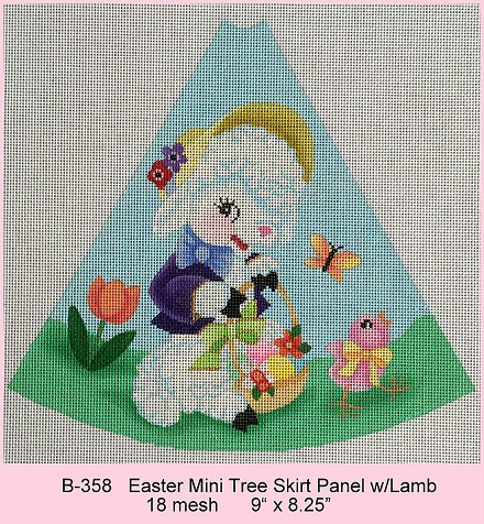 click here to view larger image of Mini Easter Tree Skirt Panel With Lamb (hand painted canvases)
