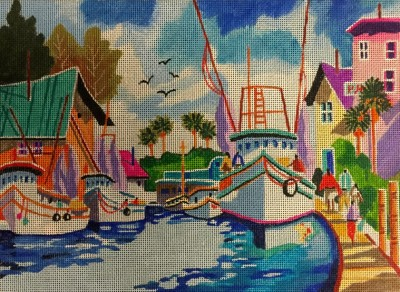 click here to view larger image of Down On The Docks (hand painted canvases)