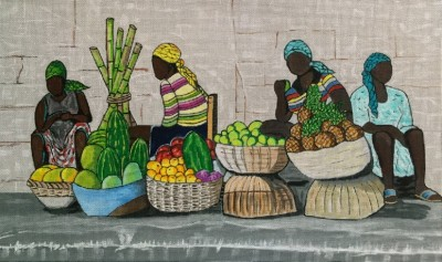 click here to view larger image of Women Selling Fruit (hand painted canvases)