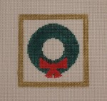 click here to view larger image of Christmas Wreath With Red Bow (hand painted canvases)