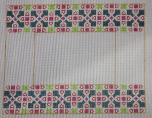 click here to view larger image of Photo Frame - Indian Tile Motif (hand painted canvases)