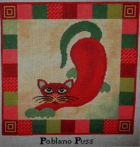 click here to view larger image of Poblano Puss - 13ct (hand painted canvases)