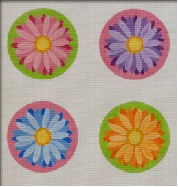 click here to view larger image of Crazy Daisy Round Coasters - Set of 4 (hand painted canvases)
