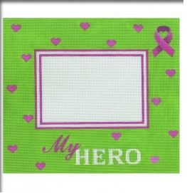 click here to view larger image of My Hero Green Frame with Pink Ribbon (hand painted canvases)