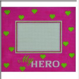 click here to view larger image of My Hero Pink Frame with Green Hearts (hand painted canvases)