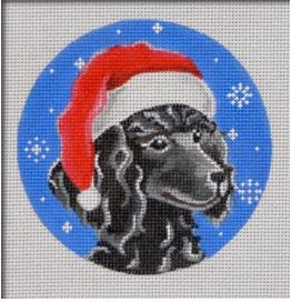 click here to view larger image of Black Poodle Santa Ornament (hand painted canvases)