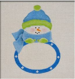 click here to view larger image of Blue Snowbaby Plaque Ornament (hand painted canvases)