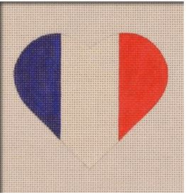 click here to view larger image of French Flag Heart (hand painted canvases)