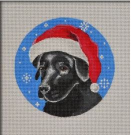 click here to view larger image of Black Lab Santa Ornament (hand painted canvases)