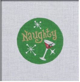 click here to view larger image of Naughty and Nice Ornament - Martini (hand painted canvases)