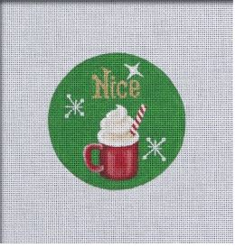click here to view larger image of Naughty and Nice Ornament - Cocoa (hand painted canvases)