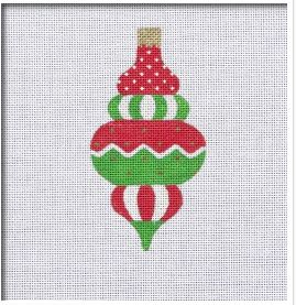click here to view larger image of Vintage Flair Zig Zag Dots Ornament - Red/Green (hand painted canvases)