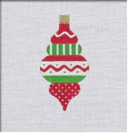 click here to view larger image of Vintage Flair Zig Zag Band Ornament - Red/Green (hand painted canvases)