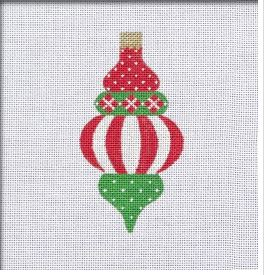 click here to view larger image of Vintage Flair Argyle Ornament - Red/Green (hand painted canvases)