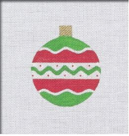 click here to view larger image of Vintage Flair Round Ornament - Red/Green (hand painted canvases)