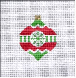 click here to view larger image of Vintage Flair Snowflake Ornament - Red/Green (hand painted canvases)